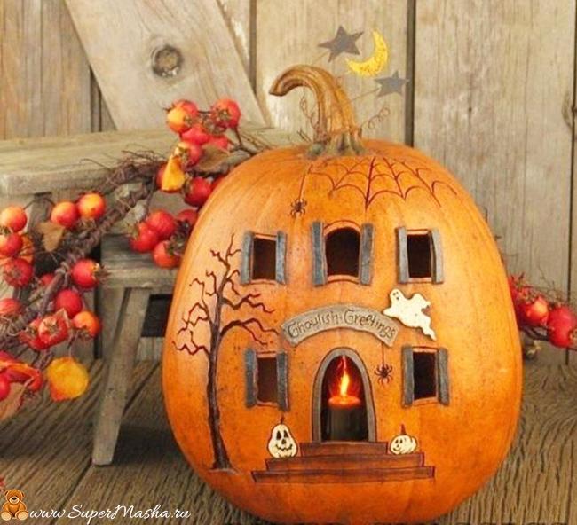 детские поделки на Хэллоуин из тыквы