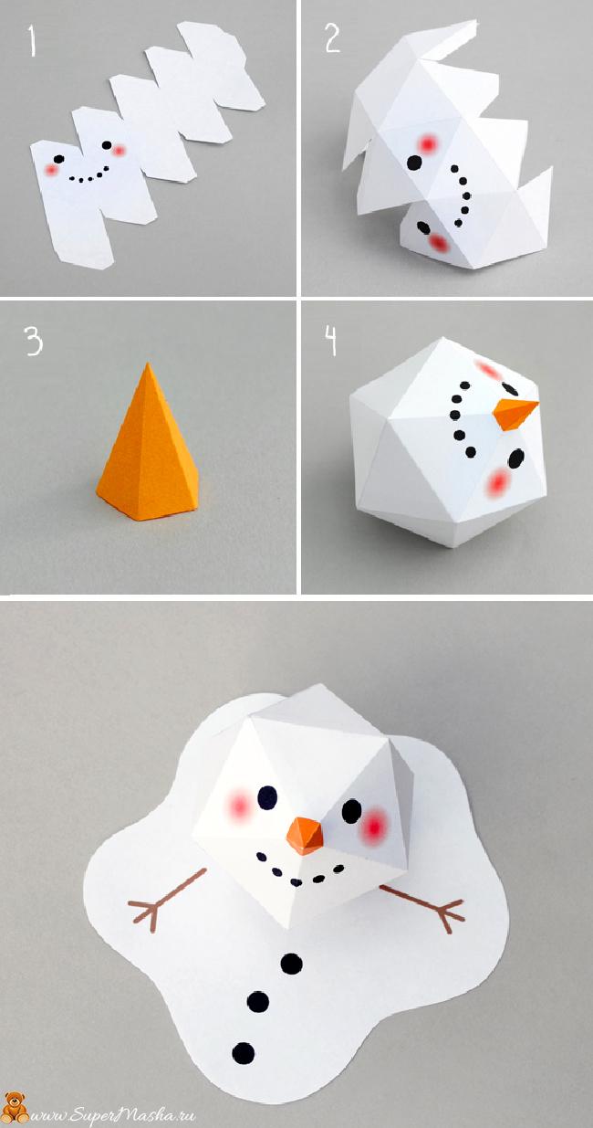 Как сделать снеговика из картона фото 614