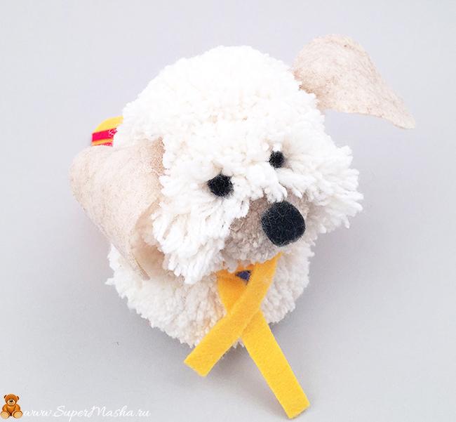 поделка собака из помопонов